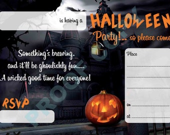 HALLOWEEN PUMPKIN invitations kids party invites