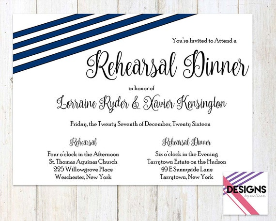 Who Is Invited To The Wedding Rehearsal Dinner: Navy Blue Rehearsal Dinner Invitation By DesignsByMelissaInc