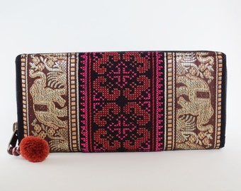 BUY 3 GET 1 FREE - Hmong handmade embroidered zip around wallet [Elephants/Brown]