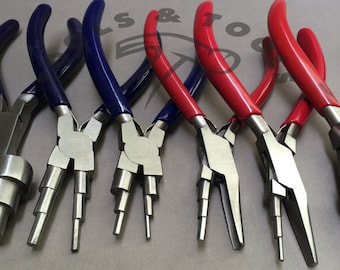 6 in 1 and 3 Step Wrap N Tap Pliers Jewelry Wire Bail Making Tools 20 Sizes 6 Pcs