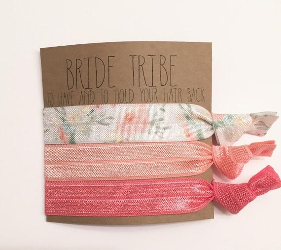 Bridesmiad hair tie favor//party favor,hair tie card, bridesmaid gift, bachelorette gift, elastic hair ties, hair tie favor