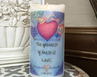 Flameless Candle - LED Candle - LED Pillar Candle - Decorative Candles - Battery Operated Candle With Timer - Religious Gift Ideas