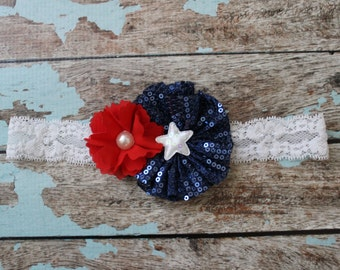 July 4 baby headband, Red white blue baby bow, lace sequin fourth of July headband