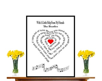 The Beatles, Typography art, Music art print,  Sheet Music Art, Beatles Music Art, Custom Wedding, Custom Anniversary, heart , Music print