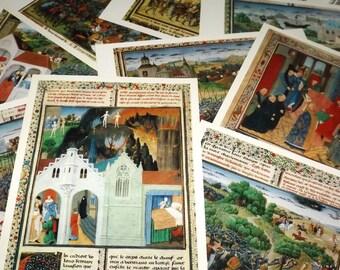 15th century art prints - Illuminated manuscript print cards - Miniature art collectible prints - Vintage art prints - Miniature painting