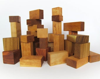 Wood Building Blocks - 36 Wooden Blocks - 36 different piece shape kids toy - Organic Wooden Toddler Childrens Toys - Waldorf Toy