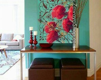 wall art turquoise red teal roses home decor print available in all sizes upon request #354
