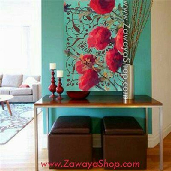 Wall Art Turquoise Red Teal Roses Home Decor Print Available