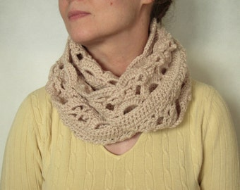 Crocheted scarf for spring Cowl infinity beige color Beige snood vintage Gift idea for woman or girl