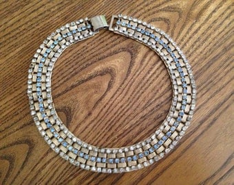 Vintage Light Blue and Clear Rhinetone Cleopata Style Choker Necklace