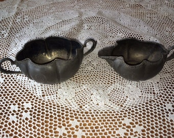 "Vintage E.G. Webster Silver plate creamer and sugar etched ""R"""