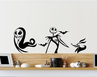 Sally, Jack And Zero, Nightmare Before Christmas ~ Auto, Wall Or Window  Decal