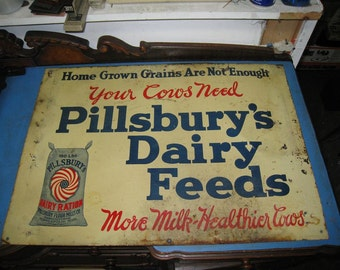 1920s PILLSBURY Dairy Feeds For The Healthier Cow Tin Litho ADVERTISING SIGN