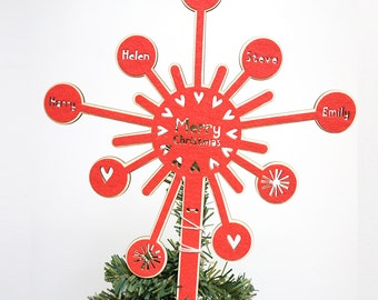 Personalised Starburst Christmas Tree Topper, Christmas Decoration, Personalised holiday decoration, laser cut tree topper