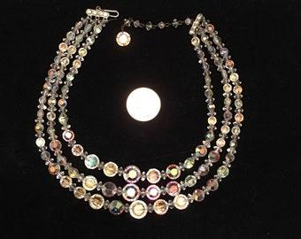 Mid century Vintage graduated iridescent crystal necklace