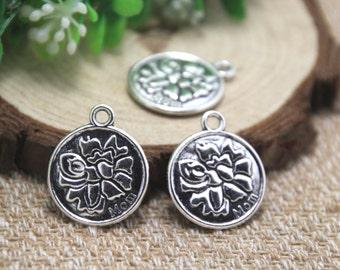 8pcs flower mom Charms, Antique Tibetan silver flower mom Charms pendants 20mm D1841