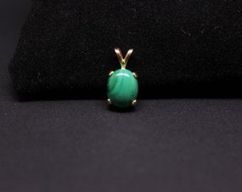 Hand crafted gold Malachite pendant
