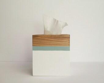 Tissue box cover, Tissue box, Kleenex box, Wooden Tissue box, Coastal tissue box, White and blue decor,Tissue box cover, Stain box