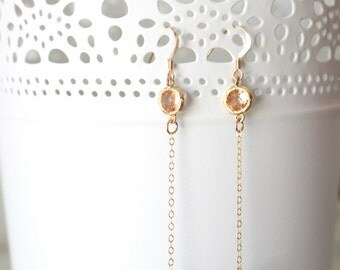 Champagne Peach Gold Glass Charm Pendant with 14K gold filled chain and Plum wine Quartz earrings