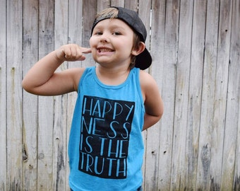 happy-ness is the truth toddler tank top, happy shirt, kids tank top, summer tanks, because i am happy, hipster clothes, NEON HEATHER BLUE