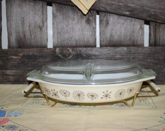 Pyrex Dandelion Duet Promotional Divided Dish with Lid and Cradle