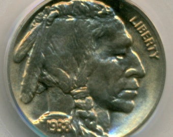 PCGS Coin 1938 D Buffalo Nickel MS65 OGH