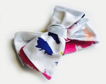 Watercolor Organic Cotton Headwrap / Bow Baby Head wrap / Fabric Headwrap / Top Knot Wrap / Baby Headband / Headwrap Turban