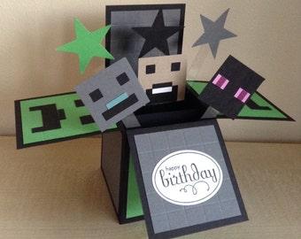 Handmade Card in a box, minecraft theme  birthday pop up card