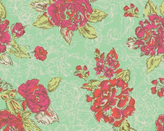 Ivy Mae Floral Flower Rose in Green Cotton Fabric Studio T Green by Tammie Green for Riley Blake Designs FQ per fat quarter per metre FQ