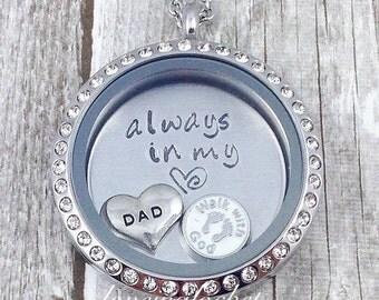 Dad Memorial Locket, Dad Loss Gift, Dad Memorial Necklace, Father Memorial Necklace, Remembrance Locket, In Memory of Dad, Stamped Locket