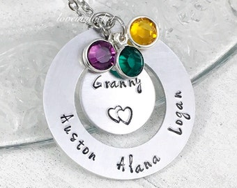 Personalized Grandma Necklace, Hand Stamped Jewelry, Granny Necklace, Customized Name Jewelry, Birthstone Necklace, Gifts for Nana, Mom Gift