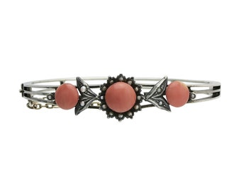 Victorian 900 Silver, Coral & Cultured Seed Pearl Bangle Bracelet
