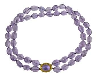 Elizabeth Locke 19K Gold Amethyst Bead Double Strand Necklace