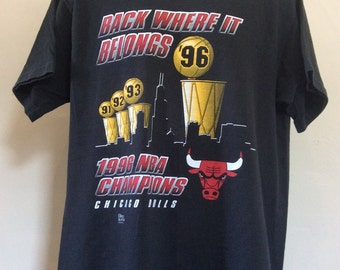 Vtg 1996 Chicago Bulls NBA Champions T-Shirt Black L/XL 90s NBA