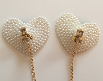 Gold Elephant and Pearl nipple pasties