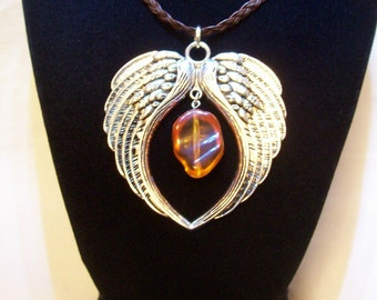 Necklace, Angel Wings, Charm Necklace, Amber Bead, Biker Jewelry