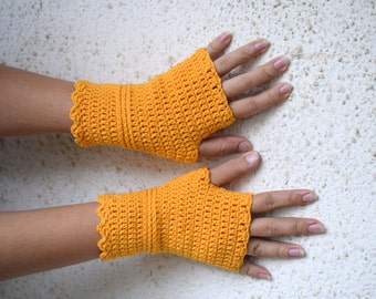 Sunny yellow wristwarmers, cotton armwarmers, crocheted fingerless gloves, office gloves, Ready to ship in size S-M
