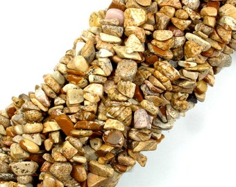 Picture Jasper, 4mm - 9mm Chips Beads, 34 Inch, Long full strand, Hole 0.8 mm (345005001)