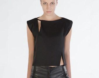 Black Asymmetrical Silk Top