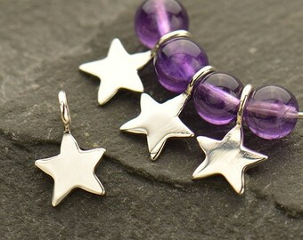 Sterling Silver, Tiny Star, Star Dangle, Tiny Star Dangle, Tiny Star Charm, Silver Star Dangle, Silver Star Charm, Bronze Star, Gold Star