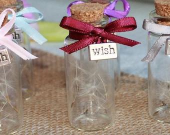 Wedding Favours -  High Quality Dandelion Glass Bottle Gift & Charm
