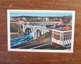 Vintage LINEN Postcard, UNUSED, 1347 The Union Pacific Steel Bridge, The Spokane River, Monroe Street Bridge, Spokane, Washington