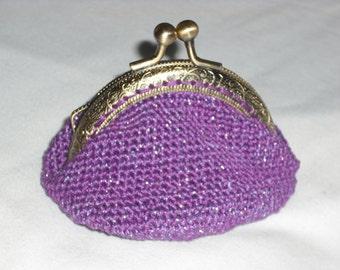 small coin purse crochet purple and bright