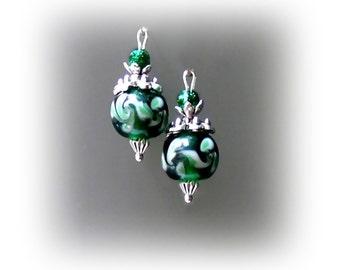 Dark bottle green Lampwork  petite drop earrings, clip on or pierced