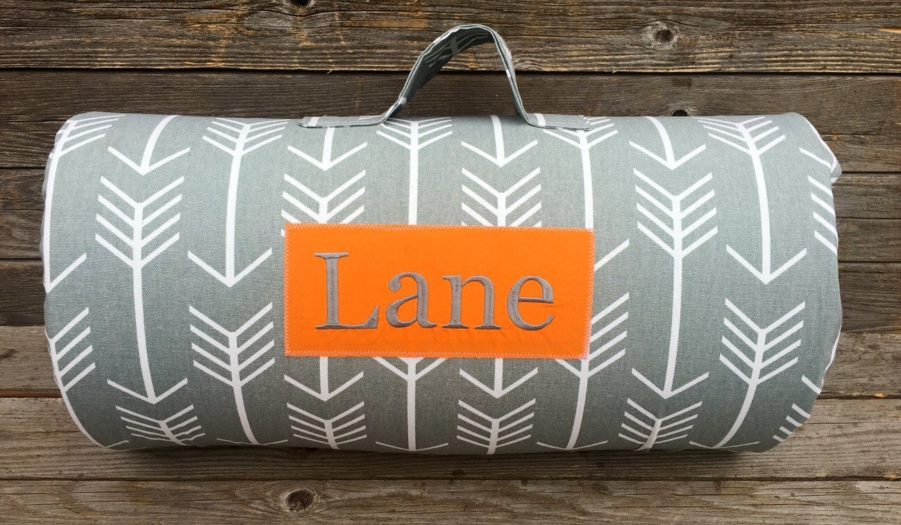 Nap Mat Gray And White Arrow Kinder Nap Mat Personalized