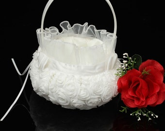 White Rose Bow Rosette Wedding Flower Girl Basket Ceremony Party Decoration