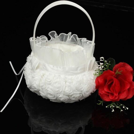 Flower Girl Baskets Canada : White rose bow rosette wedding flower girl basket ceremony