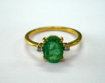 14kt gold ring emerald gemstone ring Diamond ring gold jewellery