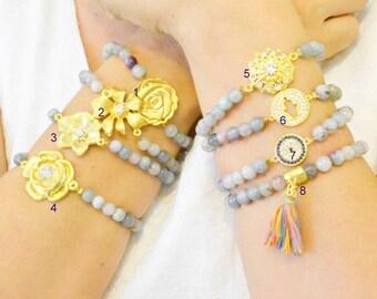 grey jade marble  bracelet, multi colors, tassle, elastic, fashion, affortable, occasion, daily, matching, flower, hand, design, geometric