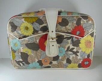 Vintage Floral Canvas Suitcase